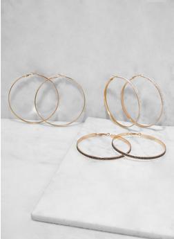 Glitter Hoop Earring Trio - 1122073840845