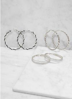 Metallic Hoop Earring Trio - 1122073841926