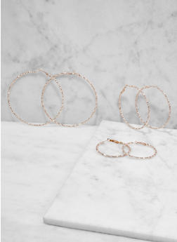 Metallic Hoop Earring Trio - 1122073841926