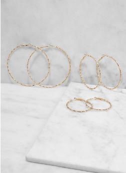 Multi Size Skinny Metallic Hoop Earring Trio - 1122073841926
