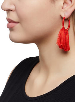 Tassel Wrapped Hoop Earrings - 1122073842241