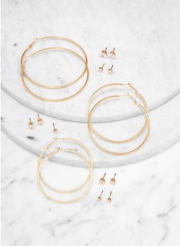 Cubic Zirconia Studs and Hoop Earrings Set - 1122073842729
