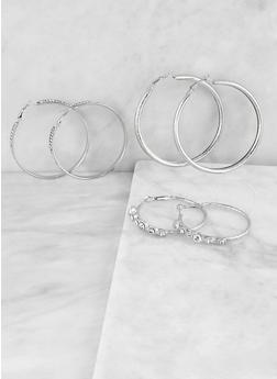 Rhinestone Hoop Earring Trio - 1122073844528