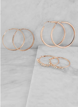 Trio of Rhinestone Studded Hoop Earrings - 1122073844528