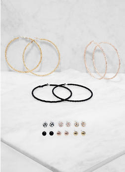Set of 9 Metallic Hoop and Stud Earrings - 1122073847463