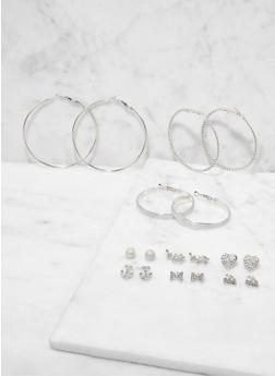 Set of 9 Rhinestone Stud and Hoop Earrings - 1122073847970