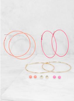 Set of Neon and Metallic Hoop and Stud Earrings - 1122073848460