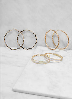 Wrapped Metallic Hoop Earring Trio - 1122073849918