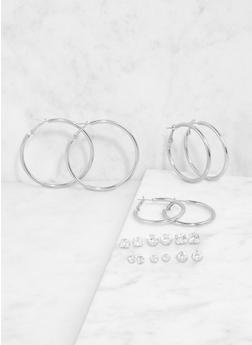 Rhinestone Stud and Hoop Earrings Set - 1122074141124