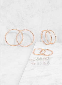 Rhinestone Stud and Hoop Earrings Set - 1122074141124