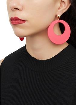 Plastic Matte Hoop Earrings - 1122074141265