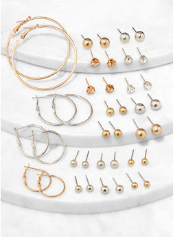 Ball Stud and Hoop Earrings Set - 1122074141707