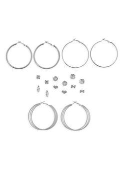 Glitter Rhinestone Stud and Hoop Earrings Set - 1122074146123