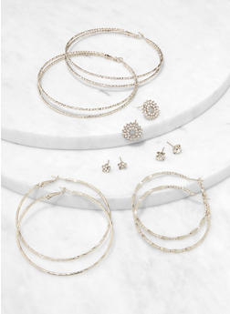 Flower Studs and Double Hoop Earring Trio - 1122074172619