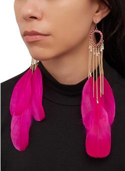 Rhinestone Teardrop Feather Earrings - 1122074173131