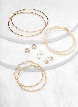 6 Assorted Variegated Hoop and Stud Earrings - 1122074177222
