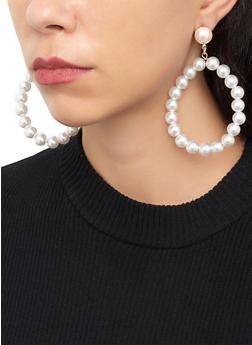 Faux Pearl Oval Drop Earrings - 1122074177225