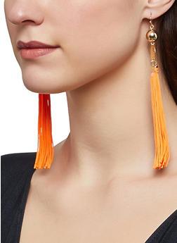 Hammered Metallic Tassel Earrings - 1122074372302