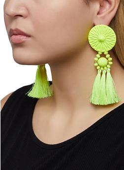Tassel Beaded Disc Earrings - 1122074375253