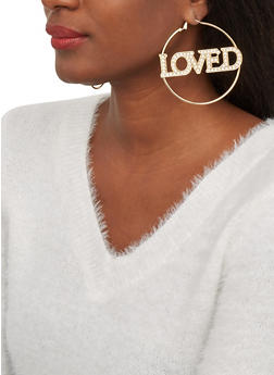 Rhinestone Loved Hoop Earrings - 1122074974025