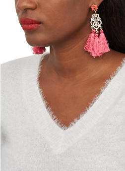 Triple Tassel Rhinestone Drop Earrings - 1122074974027