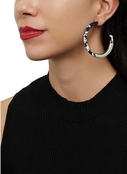 Marbled Metallic Detail Hoop Earrings - 1122074974107