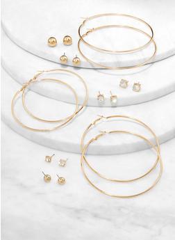 Set of 9 Basic Hoop and Stud Earrings - 1122074974117