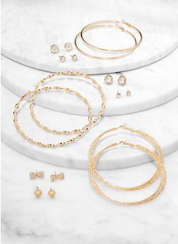 Set of 9 Metallic Hoop and Stud Earrings - 1122074974126