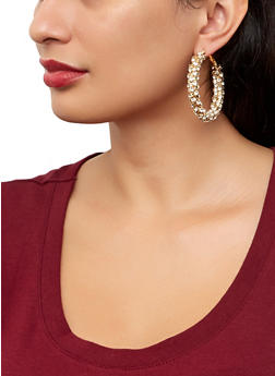 Rhinestone Wrapped Hoop Earrings | 1122074974137 - 1122074974137