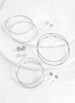 Glitter Textured Hoop and Stud Earrings - 1122074974152