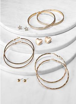 6 Assorted Hoop and Star Stud Earrings - 1122074974155