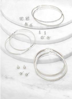 Rhinestone Stud and Large Hoop Earrings - 1122074974157