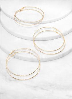 Set of 3 Oversized Hoop Earrings - 1122074974168