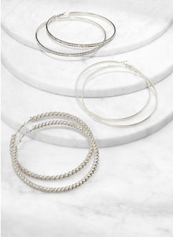 Oversized Trio of Metallic Hoop Earrings - 1122074974169
