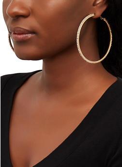 Rhinestone Hoop Earrings - 1122074981906