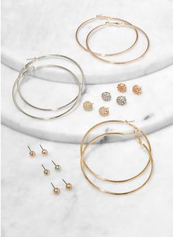 9 Assorted Hoop and Circle Stud Earrings - 1122074981911