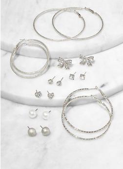 Rhinestone Bow Stud and Hoop Earrings Set - 1122074981912