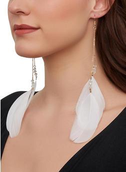 Beaded Feather Drop Earrings - 1122074981914