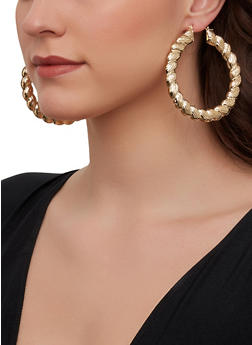 Metallic Braided Hoop Earrings - 1122074981919