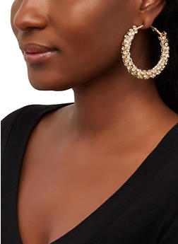 Multi Rhinestone Hoop Earrings - 1122074981929