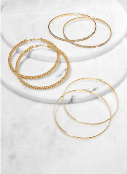 Jumbo Textured Hoop Earring Trio - 1122074981941