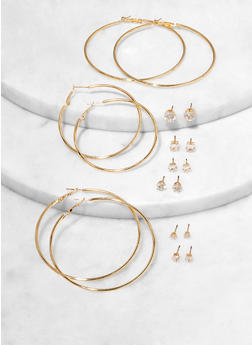 Hoop Earrings and Rhinestone Stud Set - 1122074987192