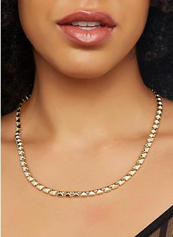 Set of Metallic Necklaces and Hoop Earrings - 1123003201302