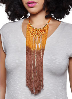Ombre Tassel Fringe Bib Necklace - 1123018433323