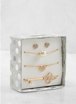 Rhinestone Necklaces and Stud Earrings Box Set - 1123024130035