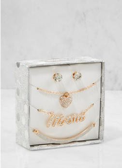 Rhinestone Necklaces and Stud Earrings Box Set - 1123024131011