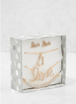 Love Necklaces and Stud Earrings Box Set - 1123024131014