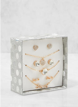 Love Necklaces and Stud Earrings Box Set - 1123024131016