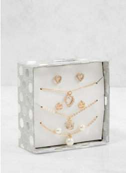 Charm Necklaces and Stud Earrings Box Set - 1123024131027