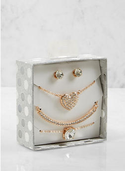 Rhinestone Necklaces and Stud Earrings Box Set - 1123024131083